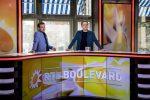 bedrijfsfotograaf in de studio op het Leidseplein, tijdens opnames van RTL Boulevard, Peter van der Vorst en Luuk Ikink achter de desk